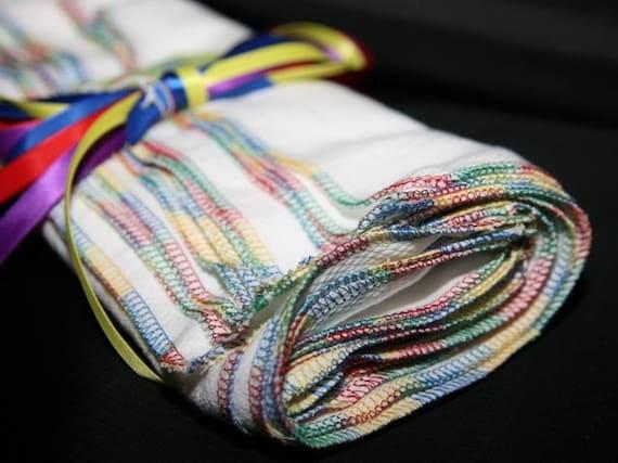 12 Large Rainbow trim Everyday Napkins Reusable birdseye cloth