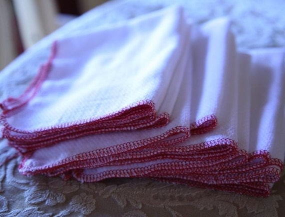12 Red Unpaper napkins Paper towel substitute Reusable BirdsEye cotton