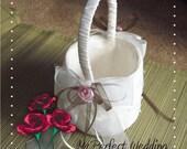 Ivory Flower Girl Basket - Pink Ribbon Roses and Brown Organza Ribbon