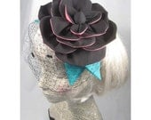 The Prettiest Gangster Black pinstripe and hot pink large rose bloom hat