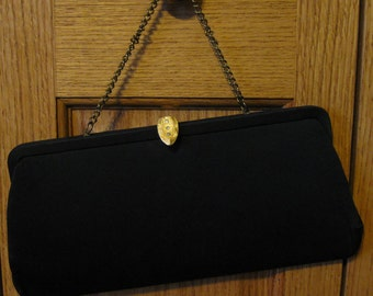 Vintage Black Satin Clutch Purse with gold and rhinestone Clasp