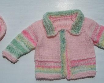 Pink Jacquard Raglan Cardigan Sweater Set