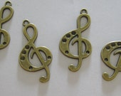 Reserved - Music Note Vintage Bronze Pendant 2pc