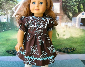 Eighteen 18 Inch Doll Dress, Brown Floral, by Bon Jean Creations