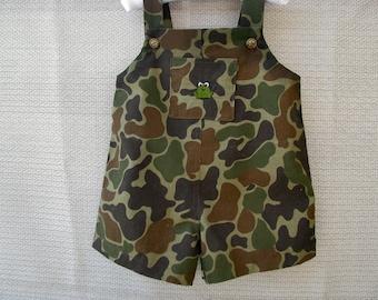 Boys Jon Jon Shortalls Romper Camouflage