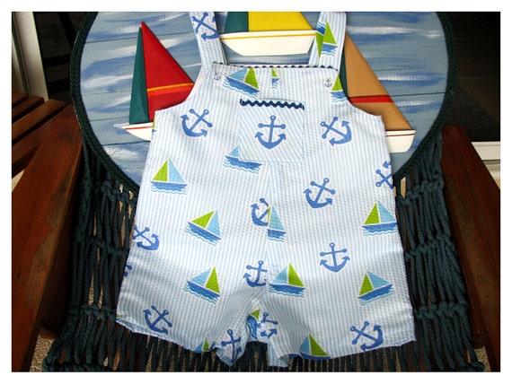 Boys Jon Jon, Romper, Shortall,  Nautical Cotton Size 3