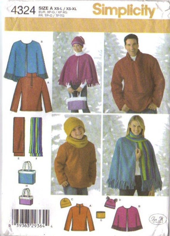 Simplicity 4324 Unisex Fleece Top, Cape, Neck Warmer, Scarf, Bag and Hat   XS-XL