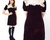 Vintage 60s Mod Wine Velvet and Lace Mini Babydoll Dress