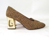 Vintage 70s Leopard and Gold Cut Out Heel Pumps 6.5
