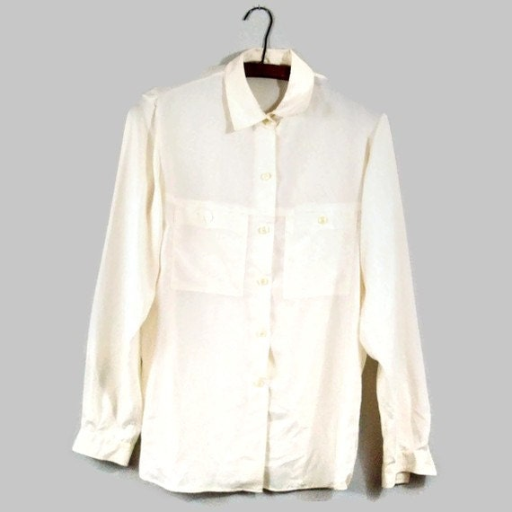 Vintage Ivory Button Up Silky Slouchy Blouse