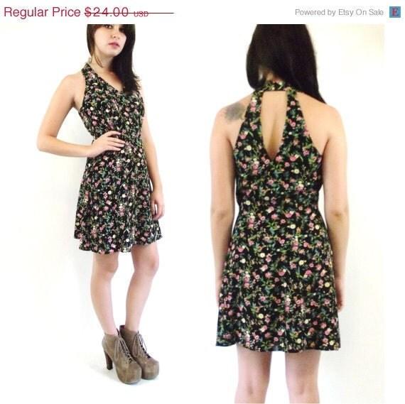 SUMMER SALE 20% OFF Vintage Floral Halter Mini Cage Dress