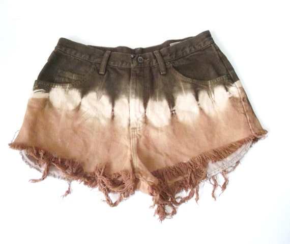 Vintage Brown Tie Dye Ombre Wrangler High Waist Cut Off Frayed Shorts 32