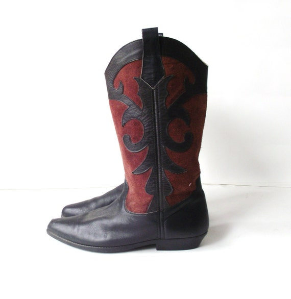Vintage Leather and Suede Ornate Western Boots 8