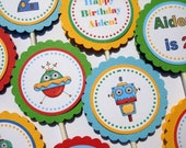 Robot Cupcake Toppers - PRINTABLE DIY FILE  Personalized Birthday Party Decorations