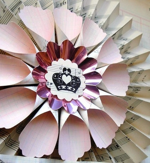 vintage paper wreath art and painted vintage pink ledger petals pick your design - crown heart art reserved listing