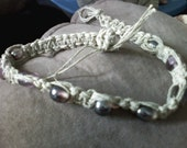 Hemp and purple bead necklace