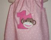 Girls Sock Monkey Numbered Dress