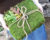 Fall Wedding Ring Bearer Pillow - Moss and Leaves