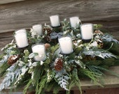 Christmas Winter Centerpiece Snowy Evergreens with Candles