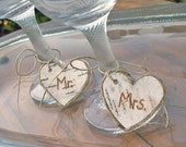 Birch  Heart Mr. and Mrs. Wedding Toasting Glass Charms