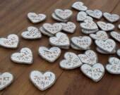 100 Personalized Wedding Favors -  Birch Bark Heart Wedding Magnets