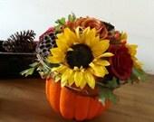 Fall Pumpkin Centerpiece Floral Arrangement
