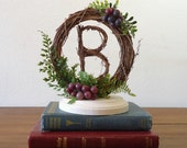 Vineyard Wedding Cake Topper with Grapevine Letter and Grapes - Any Letter