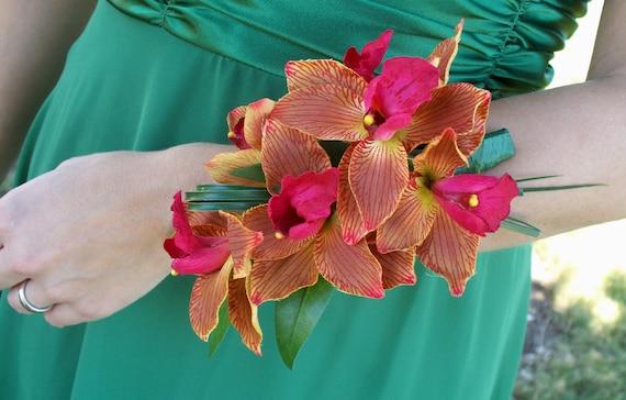 Cymbidium Orchid Wrist Corsages: Items Similar To Orange Pink Silk Cymbidium Orchid Wrist