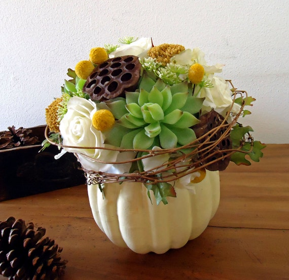 Thanksgiving Centerpiece White Pumpkin Autumn Floral