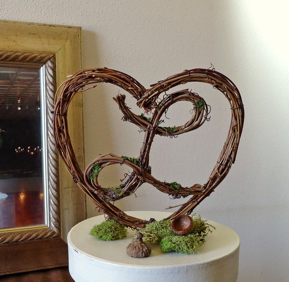 """Rustic Wedding Cake Topper 6""""  Heart with Letter - Personalized - Any Letter"""