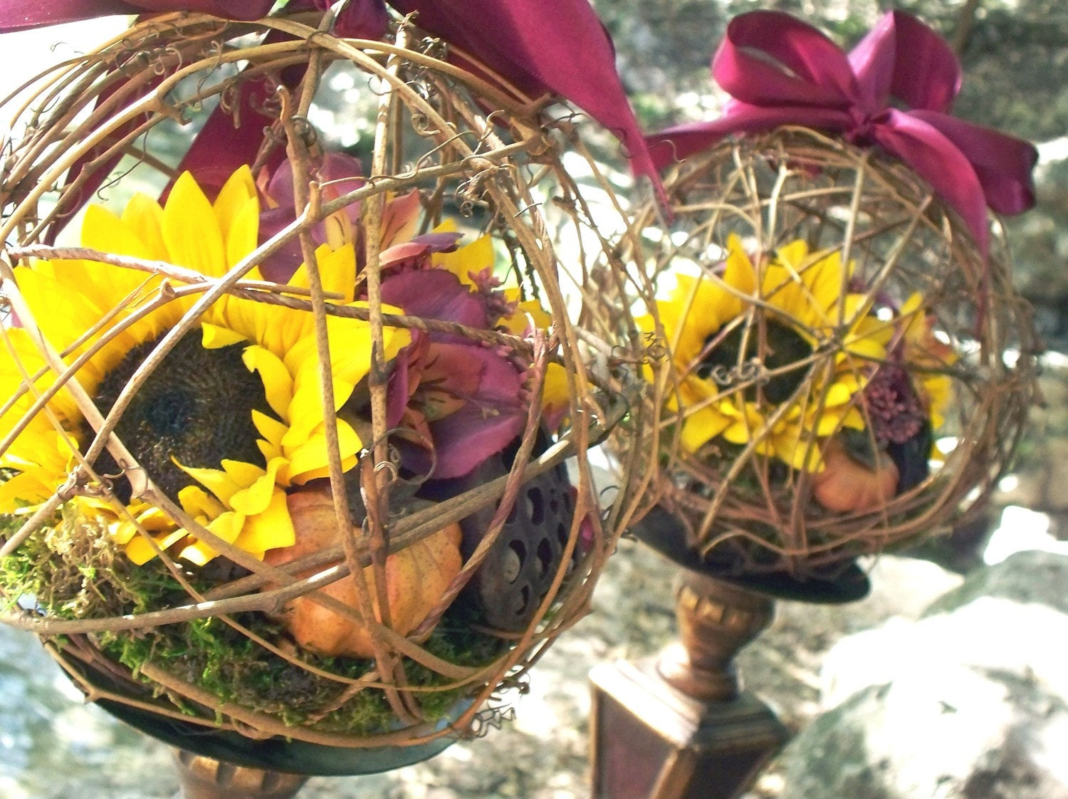 Rustic silk sunflower pomander kissing ball ornamenst set