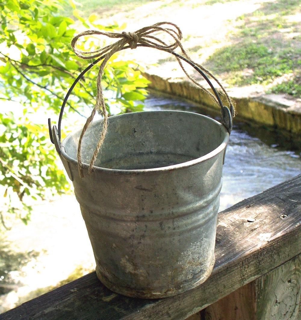 Small rustic vintage tin bucket for Rustic galvanized buckets