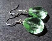 Glass mint drop earrings on sterling silver hooks