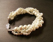 Set of 6 Twisted pearl bracelets Ivory Swarovski crystal pearl multi strand twisted bracelet with antiqued silver clasp bridal