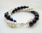 Twisted freshwater pearl bracele Black with midnight blue sheen and white pearl bracelet multi strand freshwater pearls