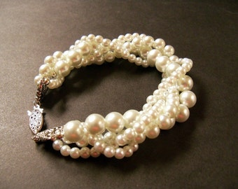Twisted pearl bracelet Ivory Swarovski crystal pearl multi strand twisted bracelet with antiqued silver clasp bridal