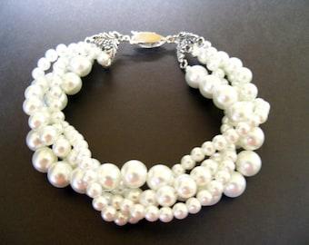 Twisted pearl bracelet Swarovski crystal Pearl bracelet White pearls silver clasp