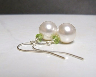 White pearl earrings Swarovski crystal pearls with natural green peridot gemstone rondelles on Sterling silver earwires