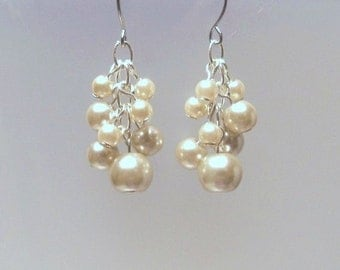 Ivory Pearl cluster earrings delicate, wedding, bridal, elegant dangling