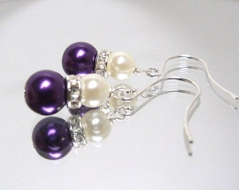 Purple plum glass pearl earrings with silver rhinestone and ivory pearl on surgical steel ear wires
