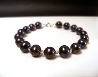 Black pearl bracelet with swarovski crystals and silver lobster clasp freshwater pearls