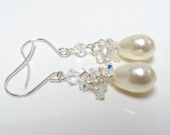 Pearl earrings Swarovski pearl and crystal earrings bridal cream pearls, swarovski crystals, wire wrapped