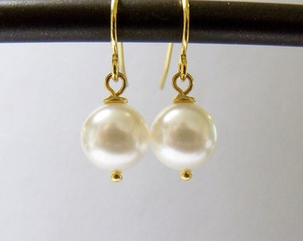 Swarovski cream crystal pearl drop earrings on gold plated surgical steel earwires
