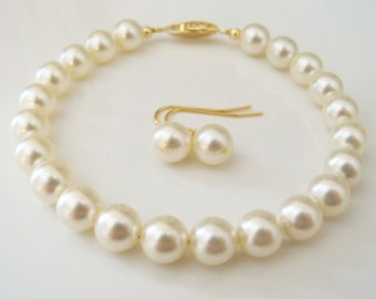 Pearl bracelet bridal Swarovski Cream pearl bracelet and pierced earring set 8mm round pearls bridesmaids gift