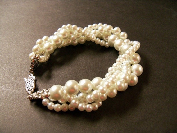 Twisted pearl bracelet Ivory Swarovski crystal pearl multi strand twisted bracelet with antiqued silver clasp bridal