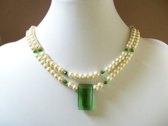 Swarovski pearl necklace with cream swarovski pearls, emerald green crystals and  pendant double strands