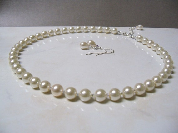 Swarovski crystal and ivory pearl necklace, bracelet and earrings set adjustable length 3 piece set