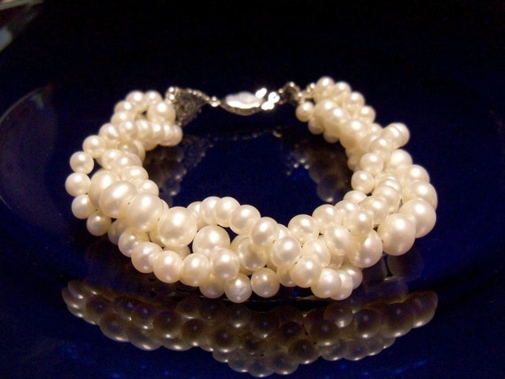 Twisted pearl bracelet multi strand freshwater pearls with antiqued silver clasp As Featured on WellWed Magazine