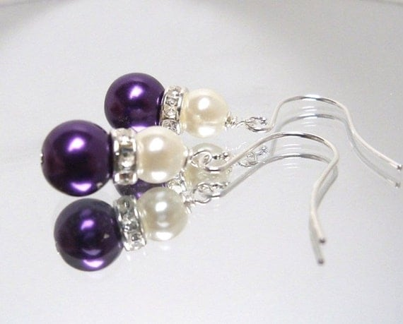 Set of 5 pairs Purple plum glass pearl earrings with silver rhinestone and ivory pearl on surgical steel ear wires