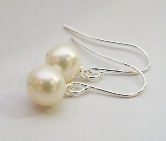 Set of 3 pairs AA grade 8mm Freshwater pearl drop earrings on silver plated surgical steel earwires